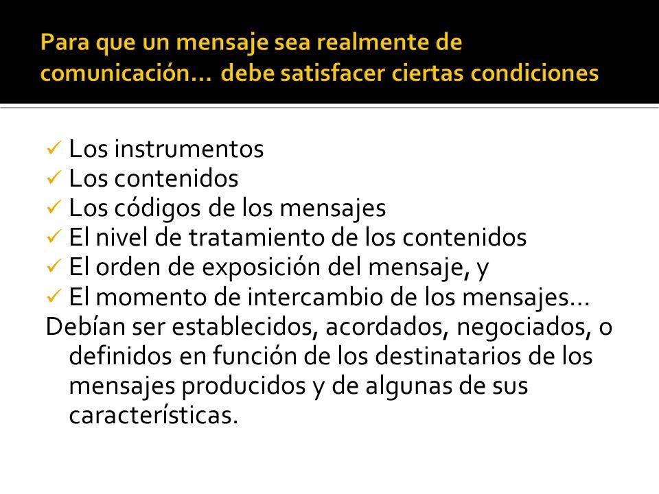 Los instrumentos Los contenidos Los códigos de los mensajes El nivel de tratamiento de los contenidos El orden de exposición del mensaje, y El momento