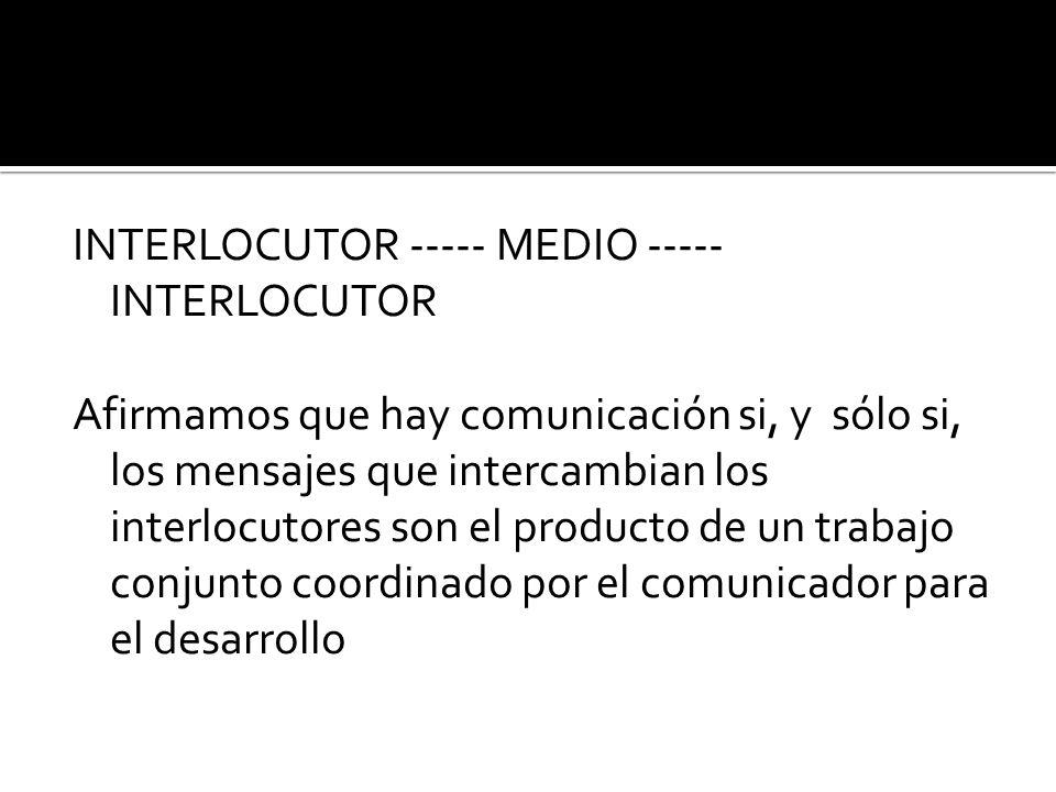 INTERLOCUTOR ----- MEDIO ----- INTERLOCUTOR Afirmamos que hay comunicación si, y sólo si, los mensajes que intercambian los interlocutores son el prod