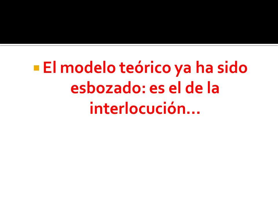El modelo teórico ya ha sido esbozado: es el de la interlocución…