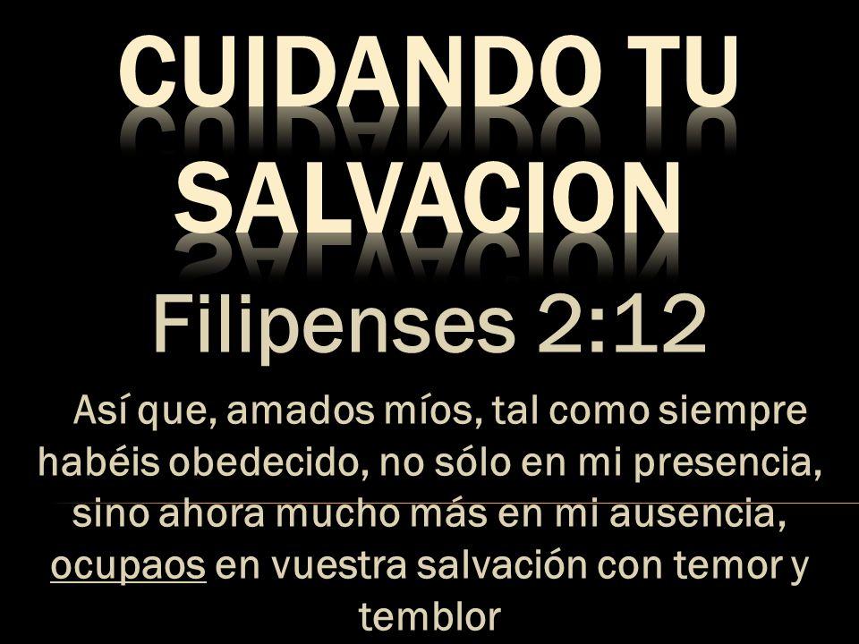 Filipenses 2:12 Así que, amados míos, tal como siempre habéis obedecido, no sólo en mi presencia, sino ahora mucho más en mi ausencia, ocupaos en vues
