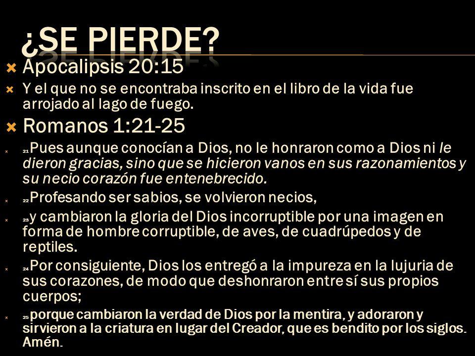 Apocalipsis 20:15 Y el que no se encontraba inscrito en el libro de la vida fue arrojado al lago de fuego. Romanos 1:21-25 21 Pues aunque conocían a D