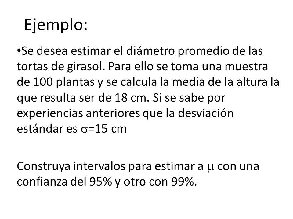Ejemplo: Se desea estimar el diámetro promedio de las tortas de girasol. Para ello se toma una muestra de 100 plantas y se calcula la media de la altu