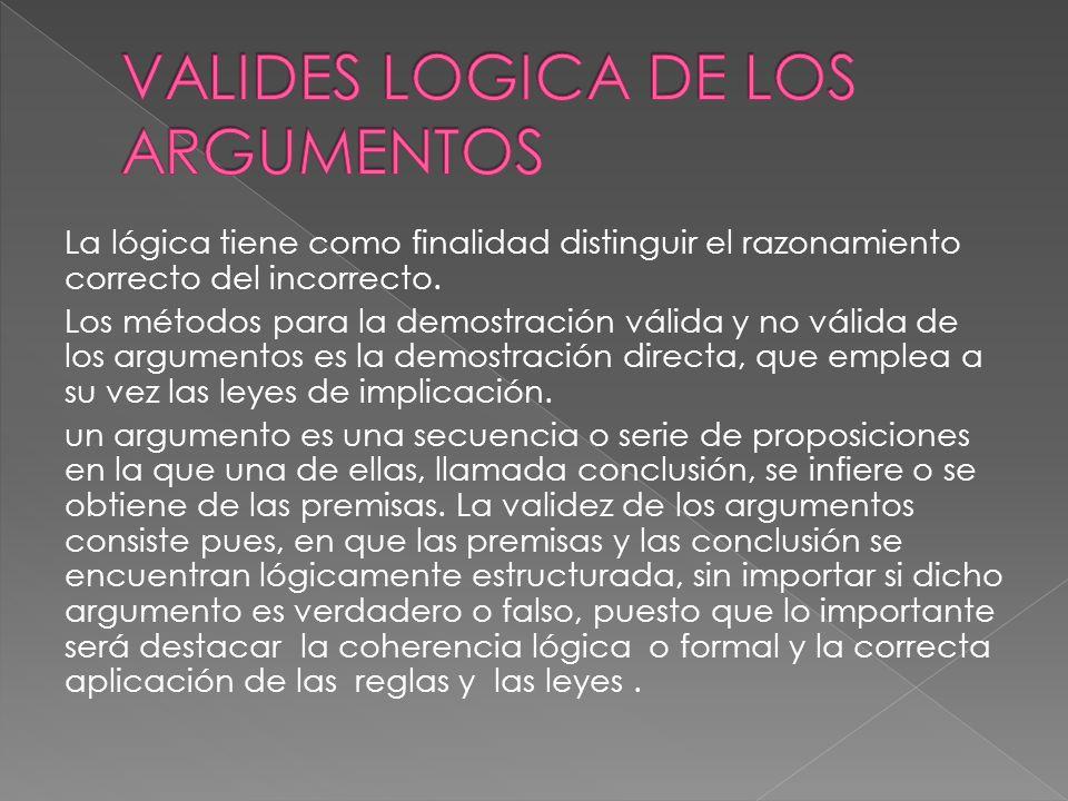 La lógica tiene como finalidad distinguir el razonamiento correcto del incorrecto. Los métodos para la demostración válida y no válida de los argument