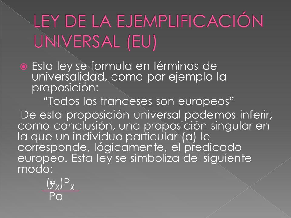 Esta ley se formula en términos de universalidad, como por ejemplo la proposición: Todos los franceses son europeos De esta proposición universal pode