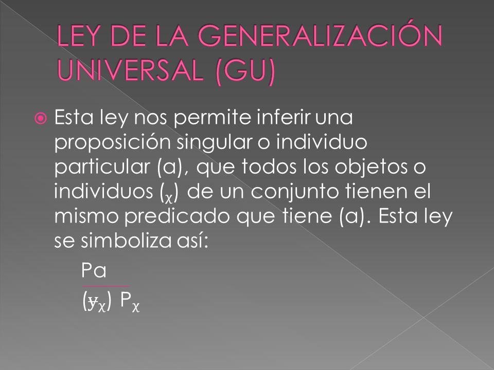 Esta ley nos permite inferir una proposición singular o individuo particular (a), que todos los objetos o individuos () de un conjunto tienen el mismo