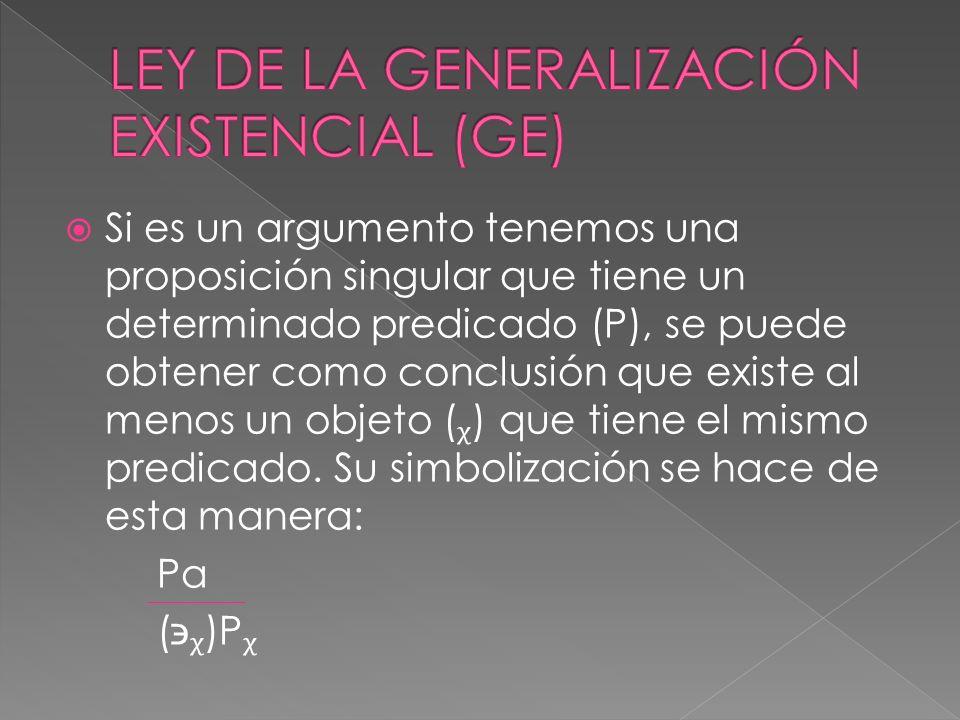 Si es un argumento tenemos una proposición singular que tiene un determinado predicado (P), se puede obtener como conclusión que existe al menos un ob