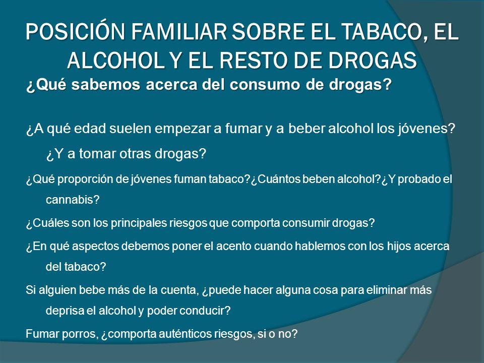 ¿Qué sabemos acerca del consumo de drogas? ¿A qué edad suelen empezar a fumar y a beber alcohol los jóvenes? ¿Y a tomar otras drogas? ¿Qué proporción