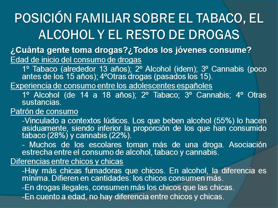 ¿Cuánta gente toma drogas?¿Todos los jóvenes consume? Edad de inicio del consumo de drogas 1º Tabaco (alrededor 13 años); 2º Alcohol (idem); 3º Cannab