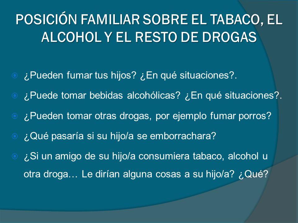 ¿Pueden fumar tus hijos? ¿En qué situaciones?. ¿Puede tomar bebidas alcohólicas? ¿En qué situaciones?. ¿Pueden tomar otras drogas, por ejemplo fumar p