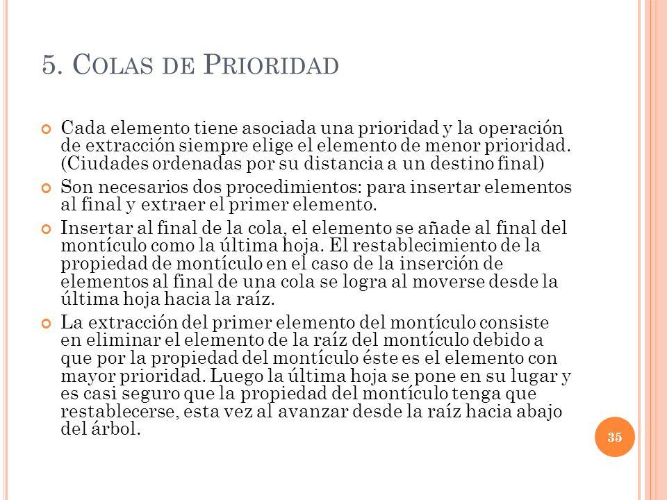5. C OLAS DE P RIORIDAD Cada elemento tiene asociada una prioridad y la operación de extracción siempre elige el elemento de menor prioridad. (Ciudade