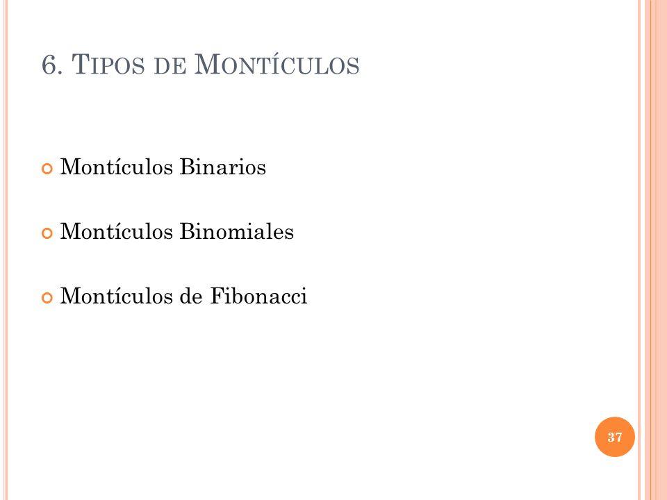 6. T IPOS DE M ONTÍCULOS Montículos Binarios Montículos Binomiales Montículos de Fibonacci 37