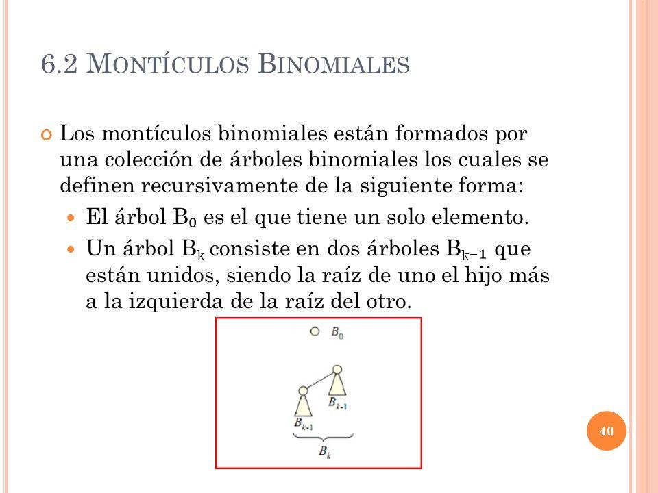 6.2 M ONTÍCULOS B INOMIALES Los montículos binomiales están formados por una colección de árboles binomiales los cuales se definen recursivamente de l