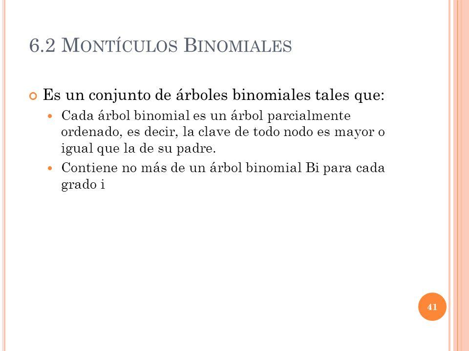 6.2 M ONTÍCULOS B INOMIALES Es un conjunto de árboles binomiales tales que: Cada árbol binomial es un árbol parcialmente ordenado, es decir, la clave