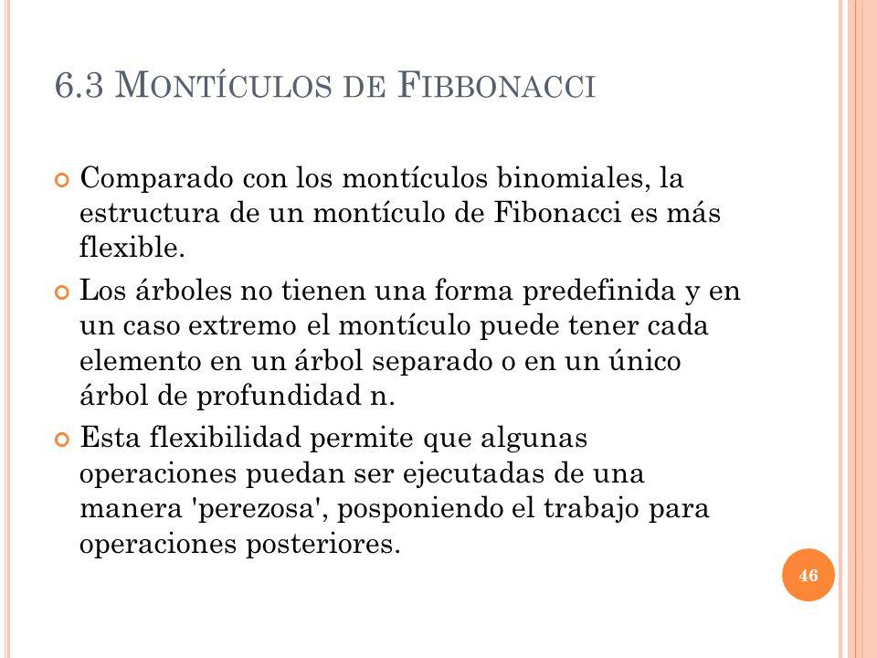 6.3 M ONTÍCULOS DE F IBBONACCI Comparado con los montículos binomiales, la estructura de un montículo de Fibonacci es más flexible. Los árboles no tie