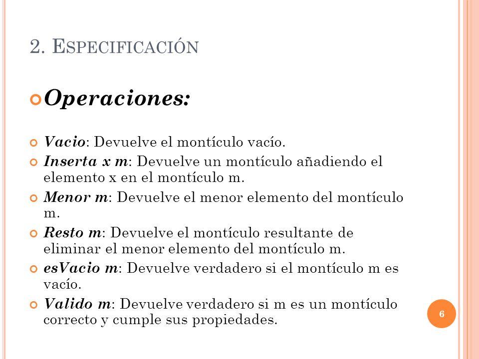 2. E SPECIFICACIÓN Operaciones: Vacio : Devuelve el montículo vacío. Inserta x m : Devuelve un montículo añadiendo el elemento x en el montículo m. Me