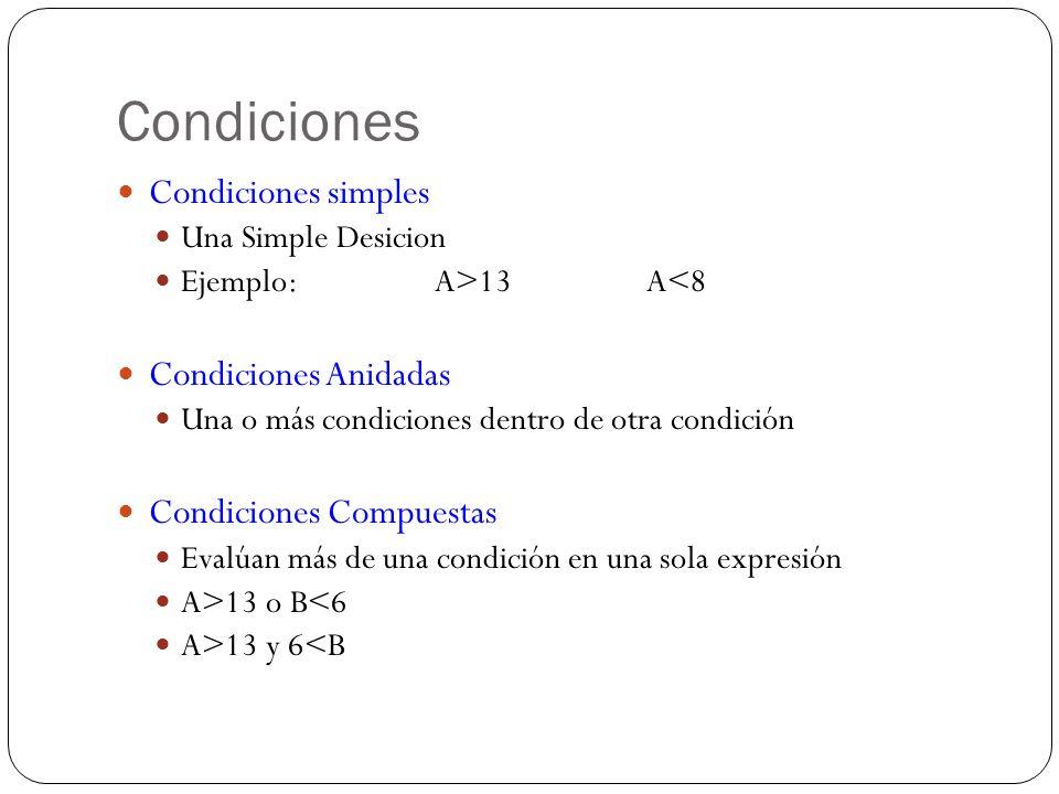 Condiciones Condiciones simples Una Simple Desicion Ejemplo: A>13 A<8 Condiciones Anidadas Una o más condiciones dentro de otra condición Condiciones