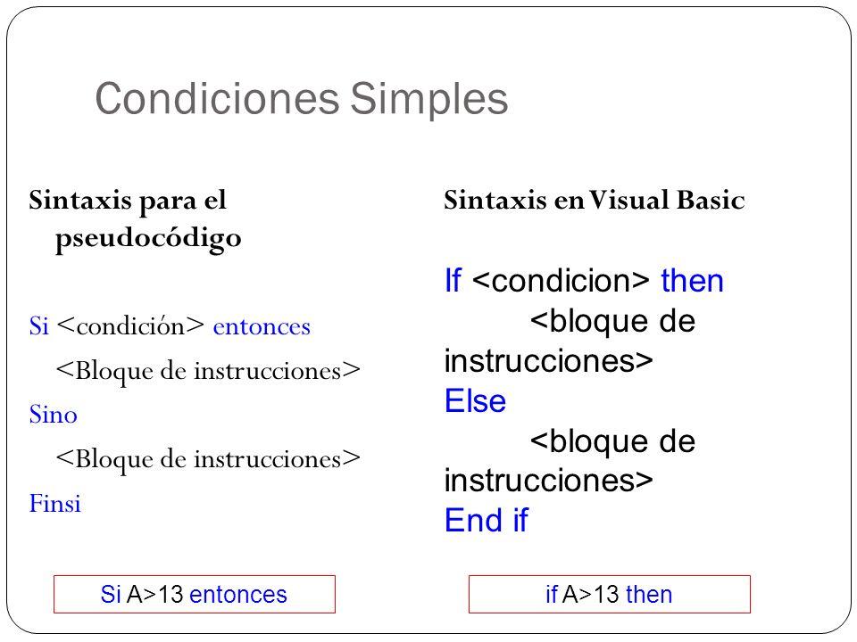 Condiciones Simples Sintaxis para el pseudocódigo Si entonces Sino Finsi Sintaxis en Visual Basic If then Else End if Si A>13 entoncesif A>13 then