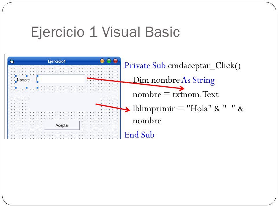 Ejercicio 1 Visual Basic Private Sub cmdaceptar_Click() Dim nombre As String nombre = txtnom.Text lblimprimir =