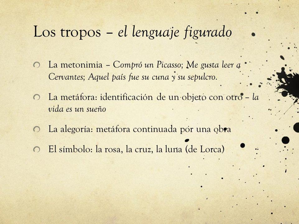 Los tropos – el lenguaje figurado La metonimia – C ompró un Picasso; Me gusta leer a Cervantes; Aquel país fue su cuna y su sepulcro. La metáfora: ide