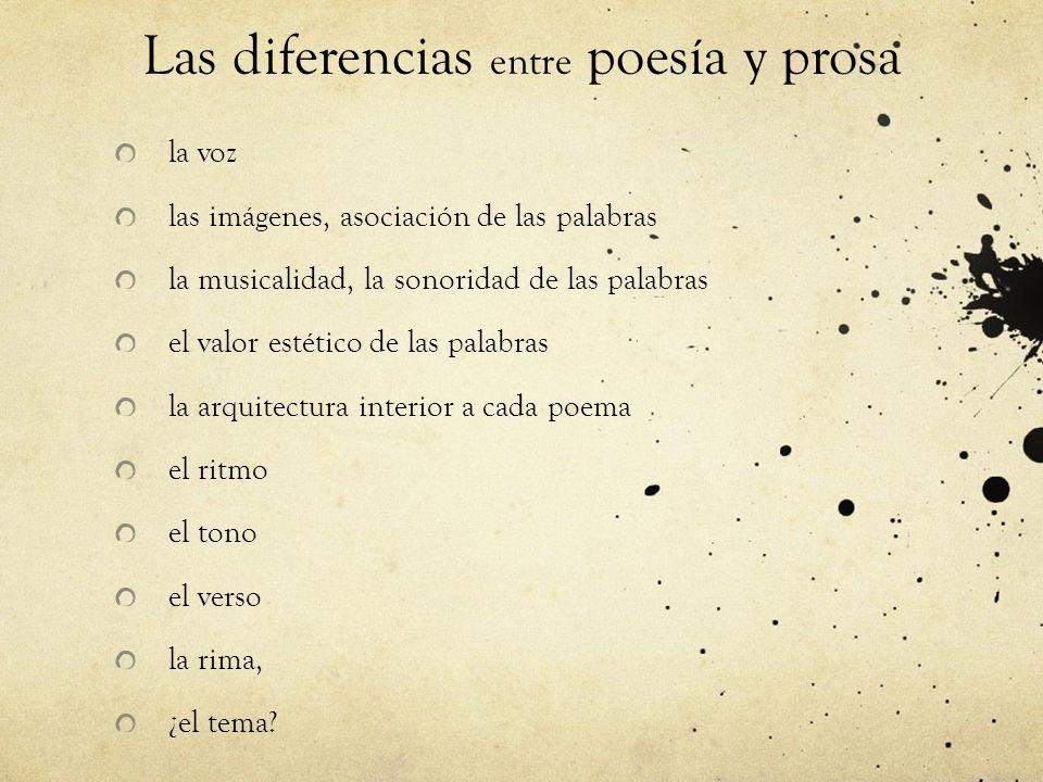Las diferencias entre poesía y prosa la voz las imágenes, asociación de las palabras la musicalidad, la sonoridad de las palabras el valor estético de