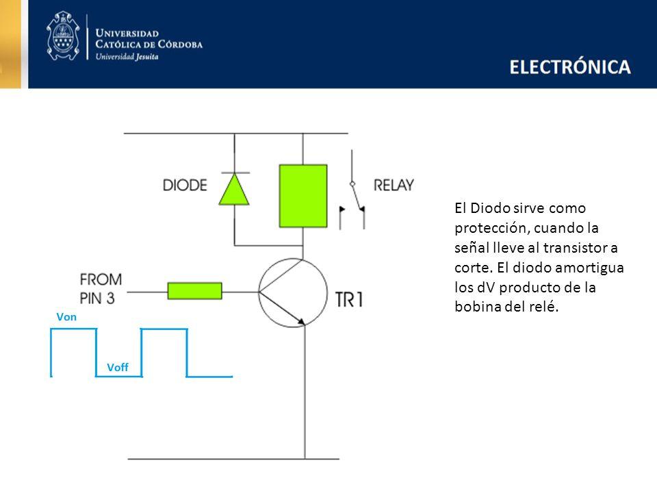El Diodo sirve como protección, cuando la señal lleve al transistor a corte. El diodo amortigua los dV producto de la bobina del relé.
