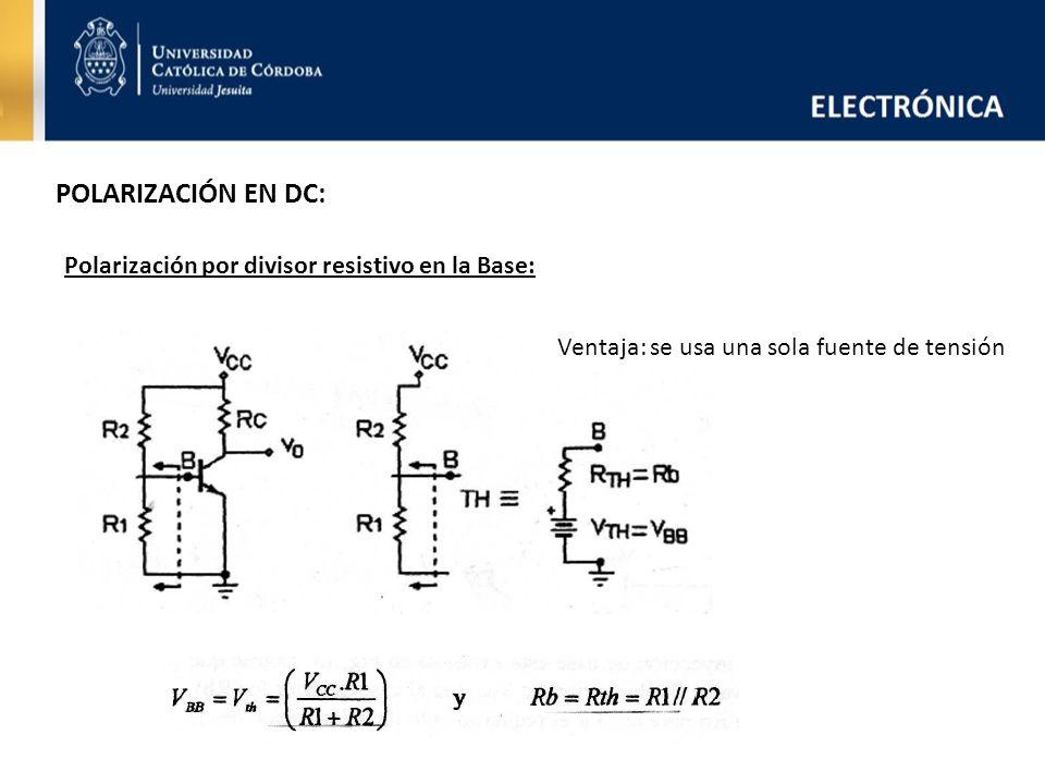 POLARIZACIÓN EN DC: Polarización por divisor resistivo en la Base: Ventaja: se usa una sola fuente de tensión
