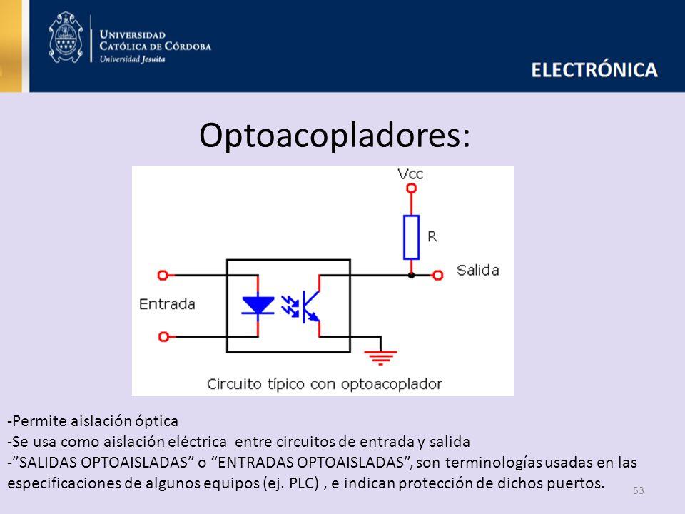 Optoacopladores: 53 -Permite aislación óptica -Se usa como aislación eléctrica entre circuitos de entrada y salida -SALIDAS OPTOAISLADAS o ENTRADAS OP