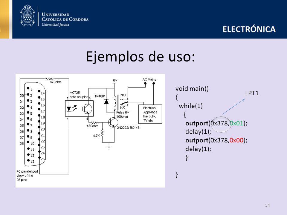 Ejemplos de uso: 54 void main() { while(1) { outport(0x378,0x01); delay(1); outport(0x378,0x00); delay(1); } } LPT1