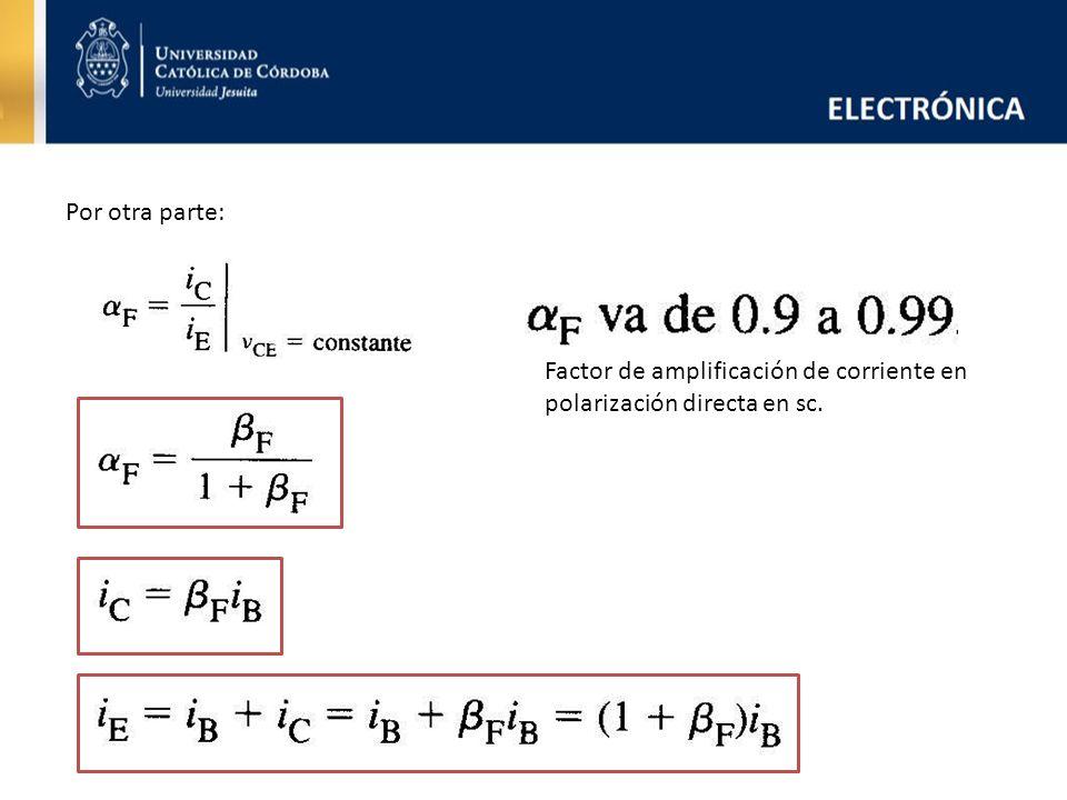 Por otra parte: Factor de amplificación de corriente en polarización directa en sc.