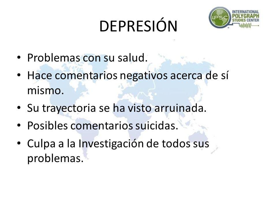 DEPRESIÓN Aislamiento de la Realidad Habla de sentirse deprimido. Problemas Emocionales. Problemas Familiares. Problemas para Dormir. Problemas para c