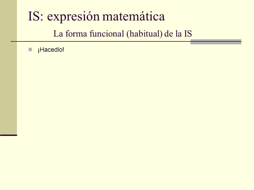 IS: expresión matemática La forma funcional (habitual) de la IS ¡Hacedlo!