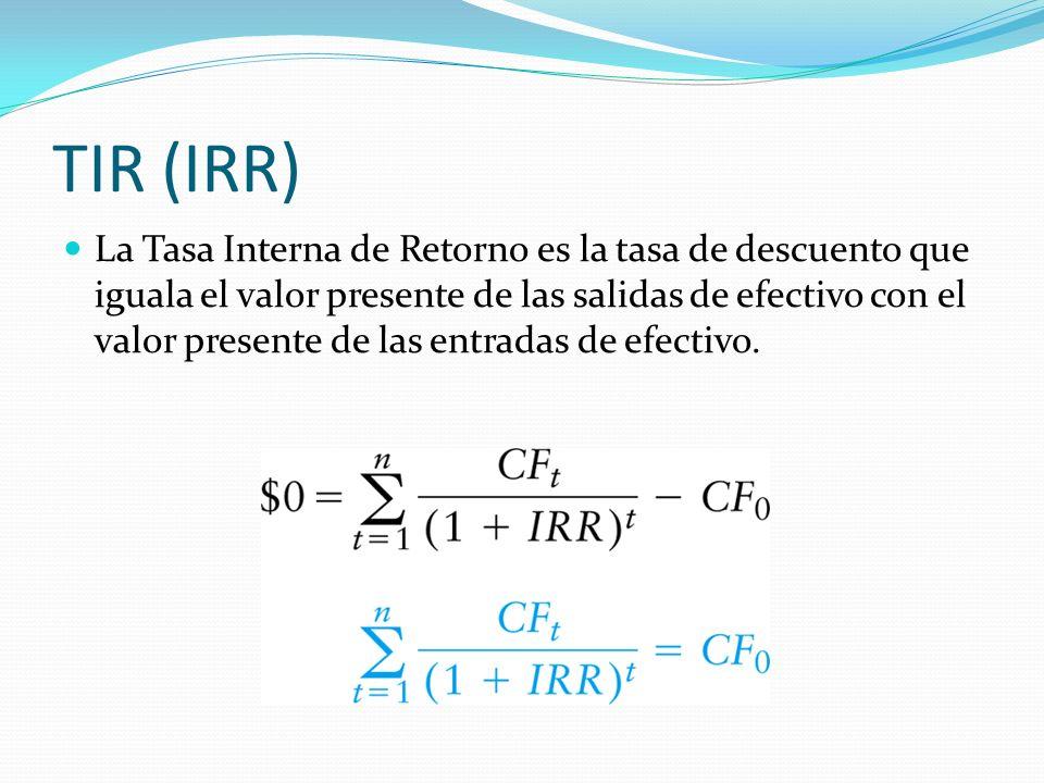 TIR (IRR) La Tasa Interna de Retorno es la tasa de descuento que iguala el valor presente de las salidas de efectivo con el valor presente de las entr