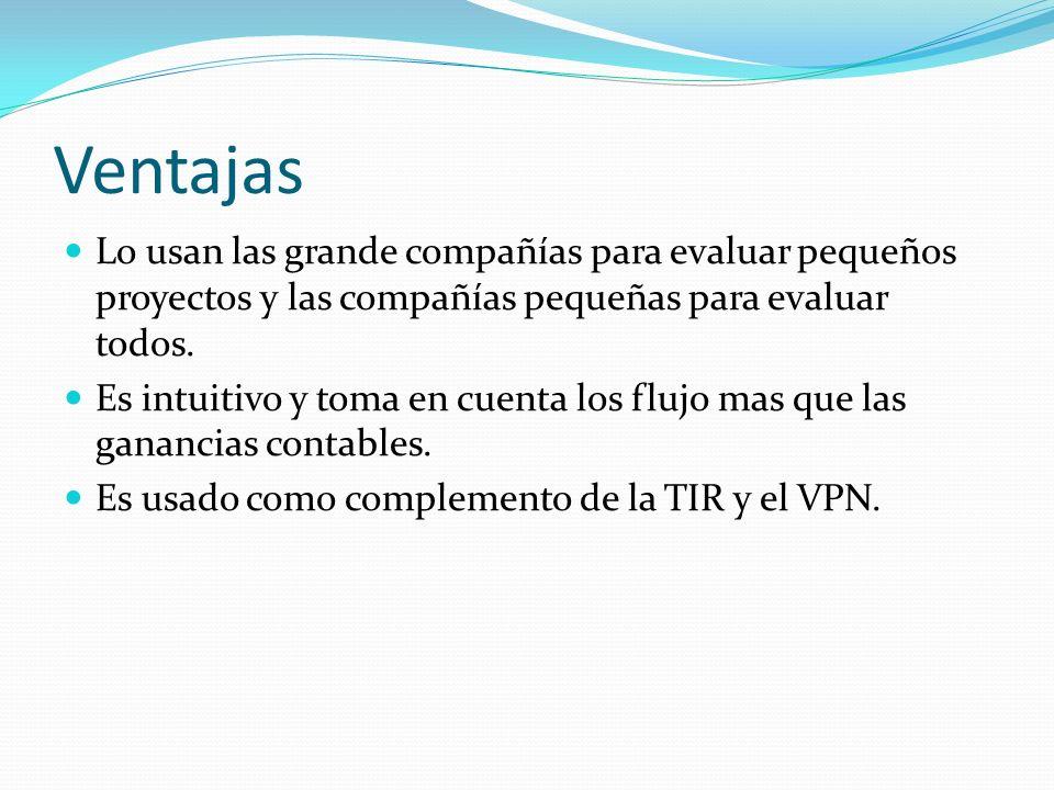Ventajas Lo usan las grande compañías para evaluar pequeños proyectos y las compañías pequeñas para evaluar todos. Es intuitivo y toma en cuenta los f