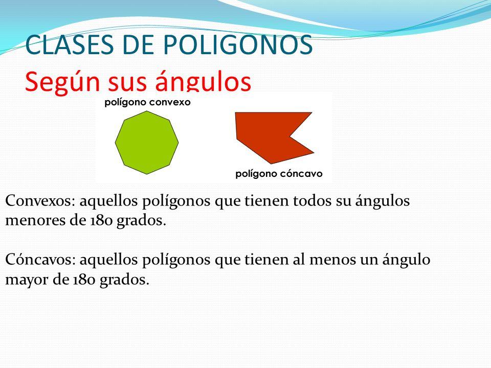 CLASES DE POLIGONOS Según sus ángulos Convexos: aquellos polígonos que tienen todos su ángulos menores de 180 grados. Cóncavos: aquellos polígonos que