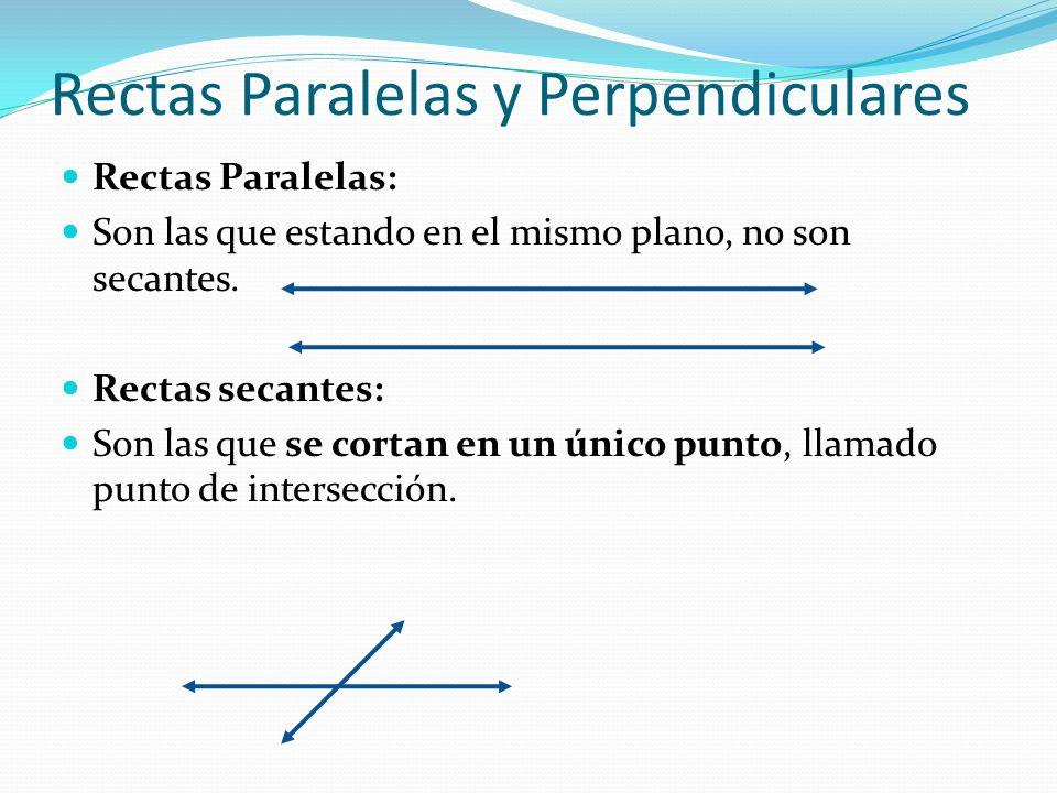Rectas Paralelas y Perpendiculares Rectas Paralelas: Son las que estando en el mismo plano, no son secantes. Rectas secantes: Son las que se cortan en