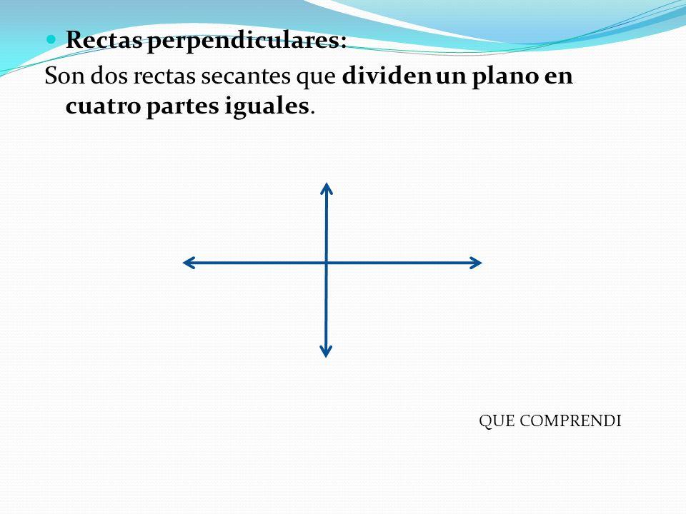 Rectas perpendiculares: Son dos rectas secantes que dividen un plano en cuatro partes iguales. QUE COMPRENDI