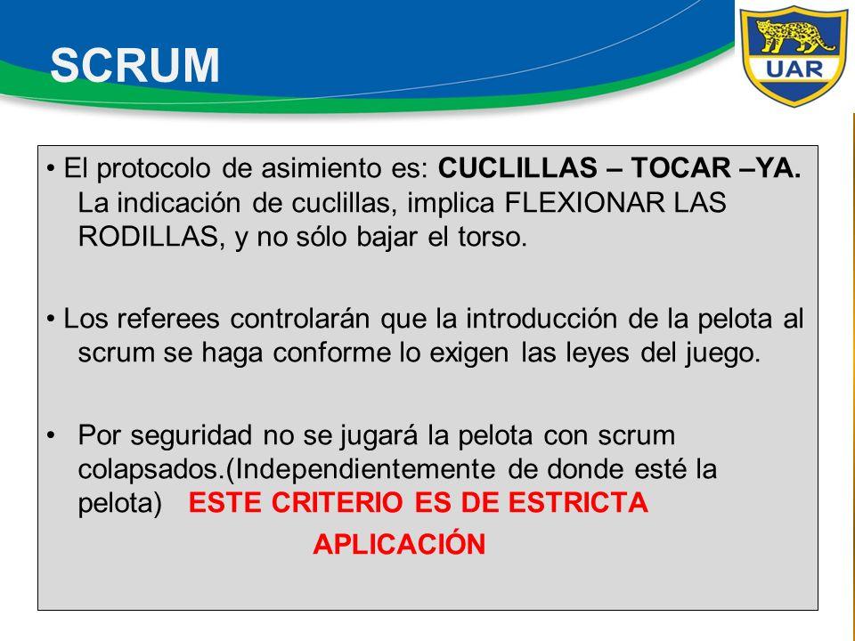 El protocolo de asimiento es: CUCLILLAS – TOCAR –YA.