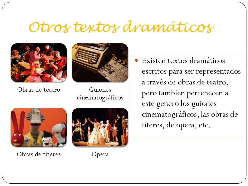 Otros textos dramáticos Obras de teatroGuiones cinematográficos Obras de títeresOpera Existen textos dramáticos escritos para ser representados a través de obras de teatro, pero también pertenecen a este genero los guiones cinematográficos, las obras de títeres, de opera, etc.