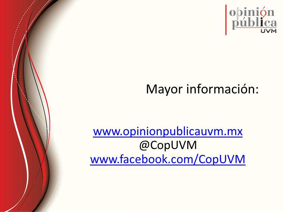 Mayor información: www.opinionpublicauvm.mx @CopUVM www.facebook.com/CopUVM