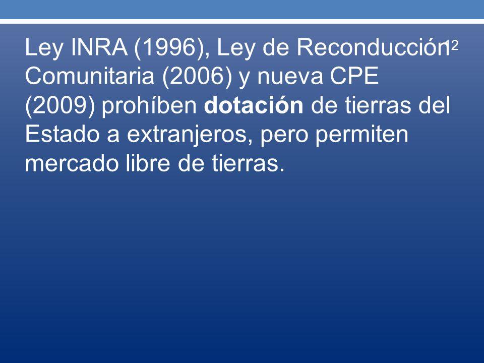 Ley INRA (1996), Ley de Reconducción Comunitaria (2006) y nueva CPE (2009) prohíben dotación de tierras del Estado a extranjeros, pero permiten mercad