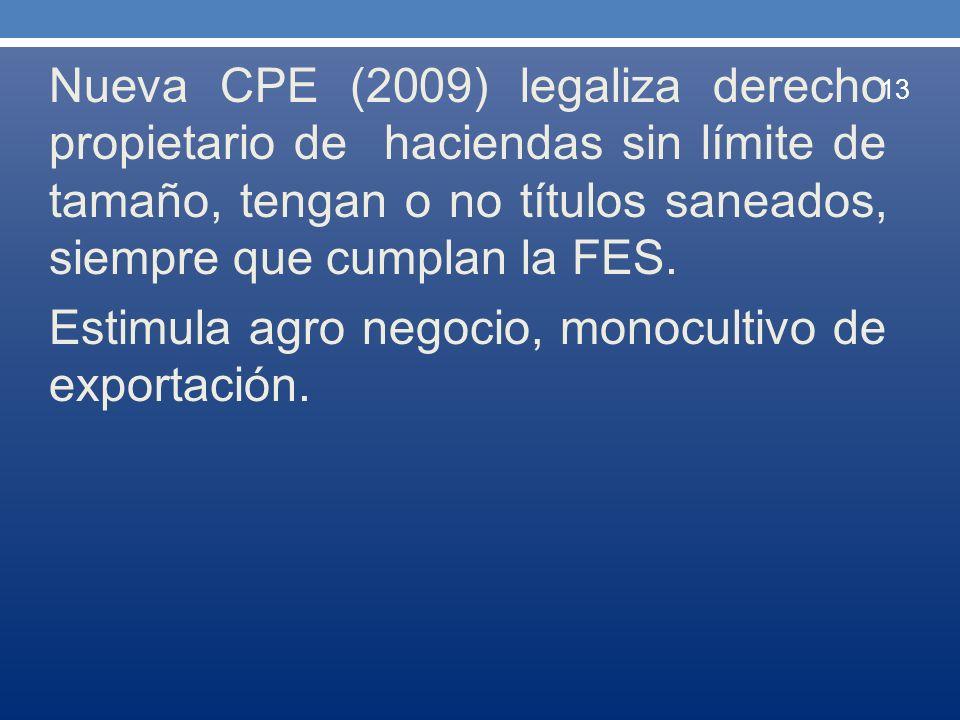 Nueva CPE (2009) legaliza derecho propietario de haciendas sin límite de tamaño, tengan o no títulos saneados, siempre que cumplan la FES. Estimula ag