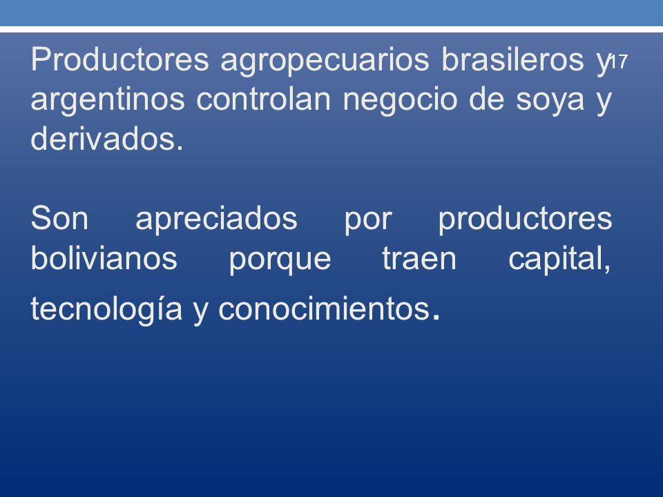 Productores agropecuarios brasileros y argentinos controlan negocio de soya y derivados. Son apreciados por productores bolivianos porque traen capita