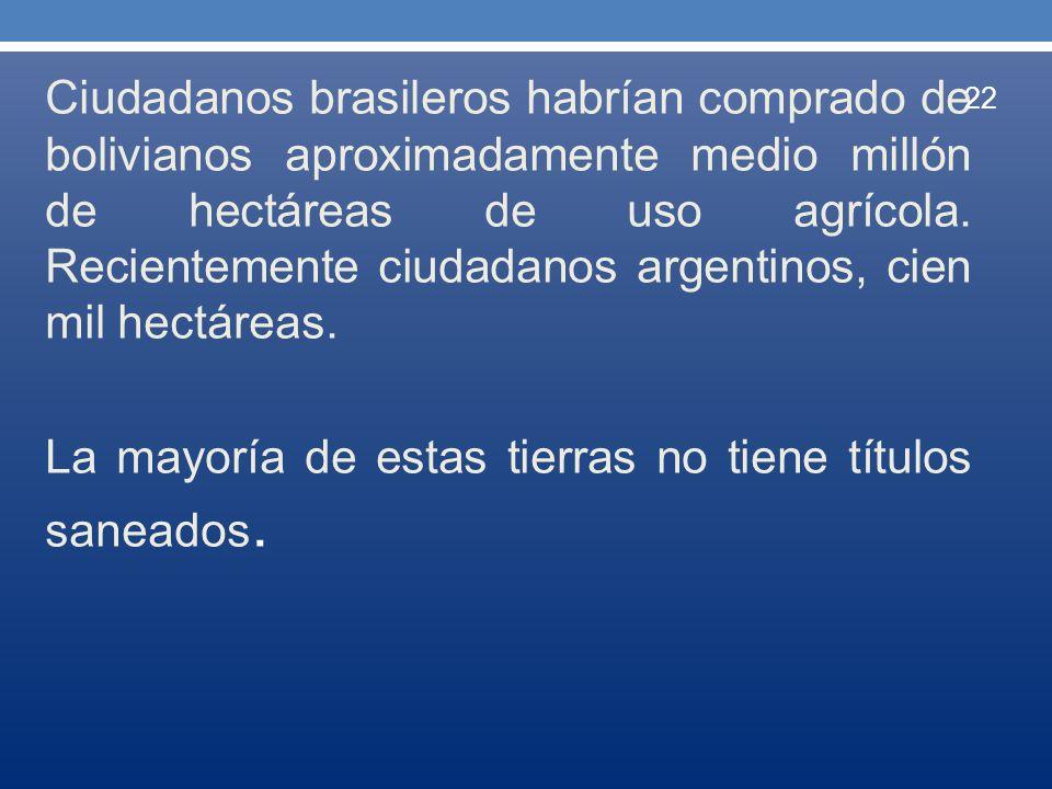 Ciudadanos brasileros habrían comprado de bolivianos aproximadamente medio millón de hectáreas de uso agrícola. Recientemente ciudadanos argentinos, c