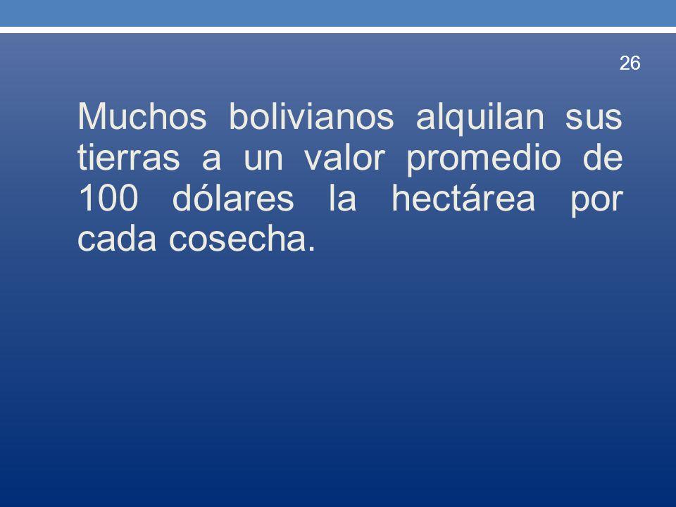 Muchos bolivianos alquilan sus tierras a un valor promedio de 100 dólares la hectárea por cada cosecha. 26