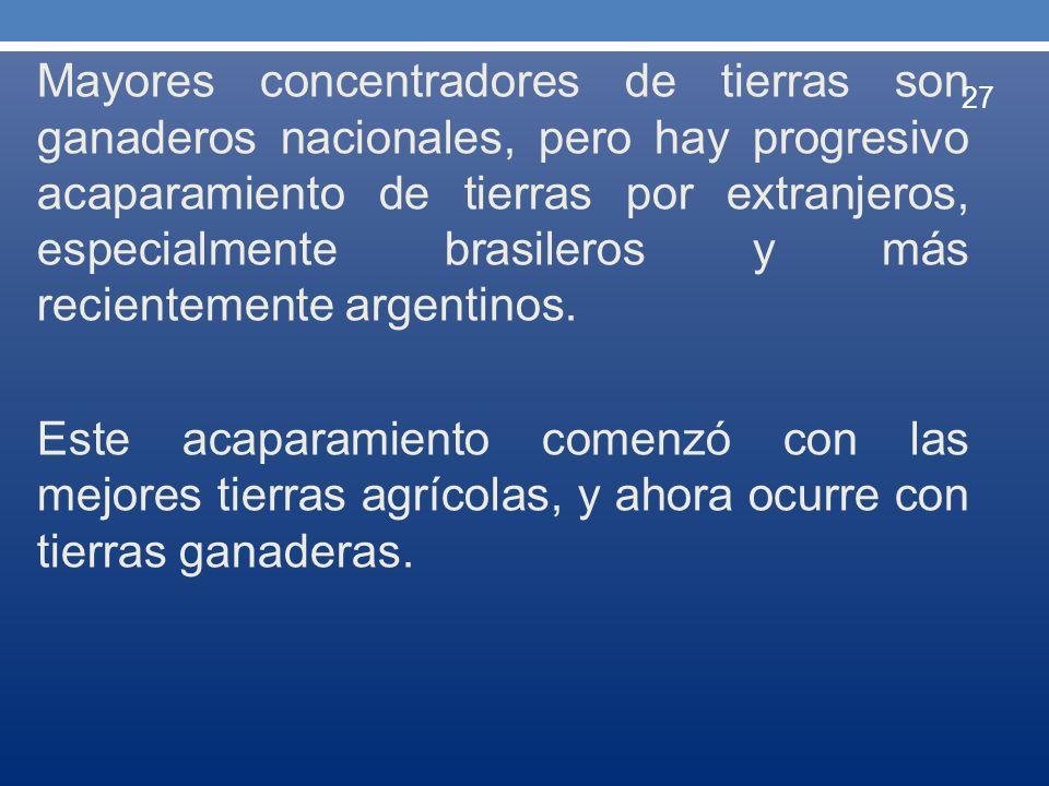 Mayores concentradores de tierras son ganaderos nacionales, pero hay progresivo acaparamiento de tierras por extranjeros, especialmente brasileros y m