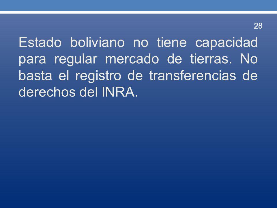 Estado boliviano no tiene capacidad para regular mercado de tierras. No basta el registro de transferencias de derechos del INRA. 28