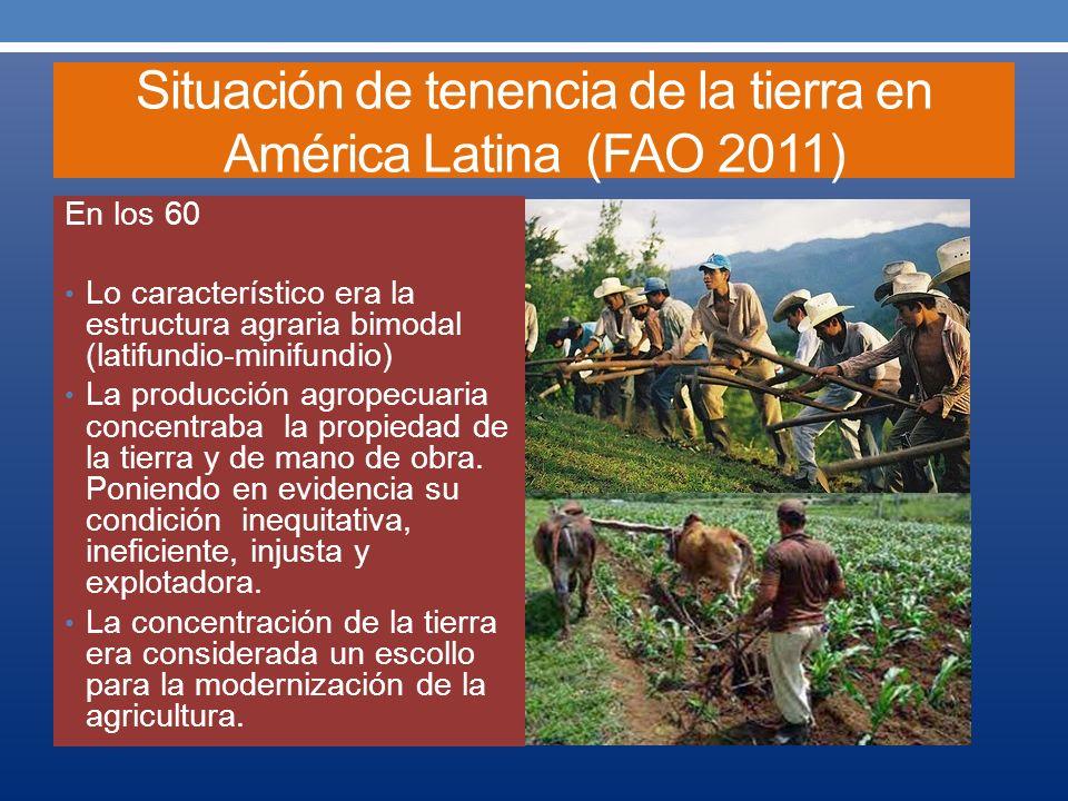 Situación de tenencia de la tierra en América Latina (FAO 2011) En la década del 2010 La concentración de la tierra se ha convertido en un requisito indispensable para la modernización y crecimiento de la producción.