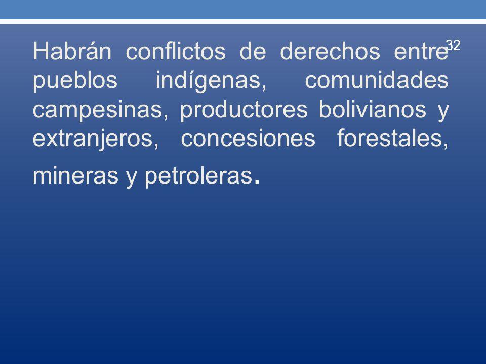 Habrán conflictos de derechos entre pueblos indígenas, comunidades campesinas, productores bolivianos y extranjeros, concesiones forestales, mineras y