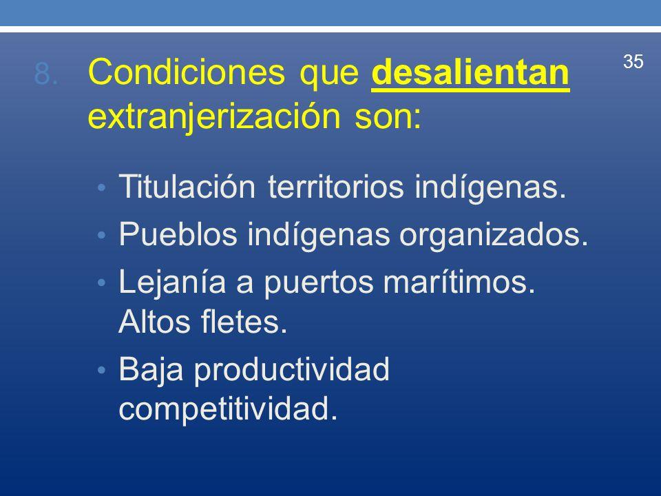 8. Condiciones que desalientan extranjerización son: Titulación territorios indígenas. Pueblos indígenas organizados. Lejanía a puertos marítimos. Alt