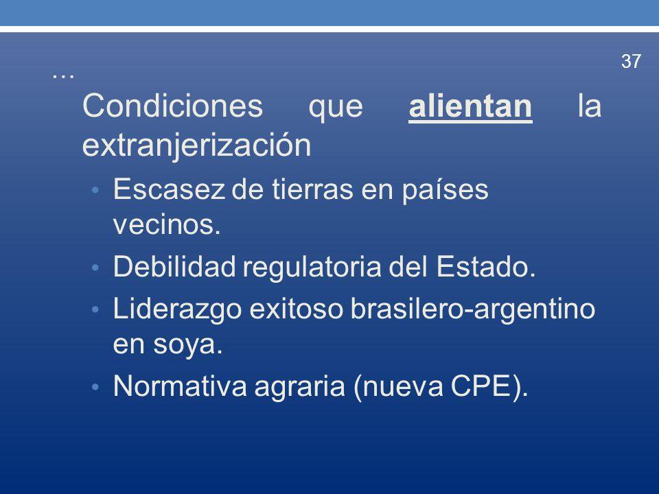 … Condiciones que alientan la extranjerización Escasez de tierras en países vecinos. Debilidad regulatoria del Estado. Liderazgo exitoso brasilero-arg